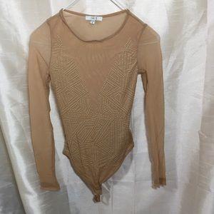 Brown Tan Mesh Gold Stud Bodysuit